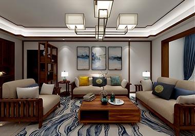 湘潭凤凰城128平四房两厅新中式风格装修效果图