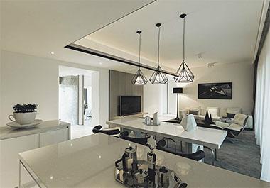 湘潭长房上层国际125㎡三室两厅现代装修效果图