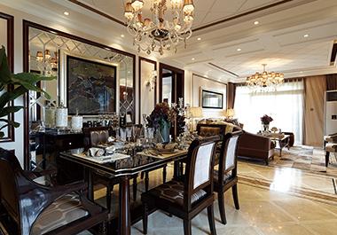 湘潭长房上层国际141㎡三房两厅欧式风格装修效果图