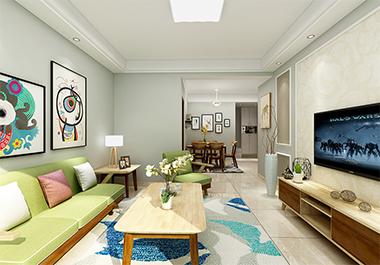 湘潭美居乐84m2两室两厅北欧风格装修效果图