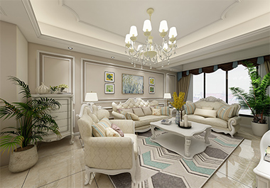 湘潭芙蓉世纪城107m2三室两厅欧式风格装修效果图