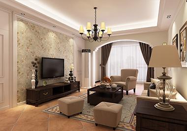 湘潭东方名苑127平方三室两厅美式风格装修效果图