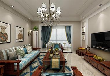 湘潭湘江学府127㎡四室两厅美式风格装修效果图