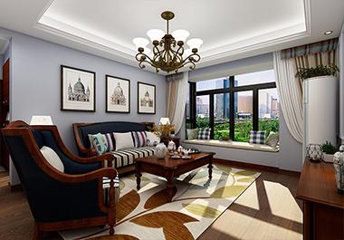 湘潭新城雅园137㎡四室两厅美式风格装修效果图