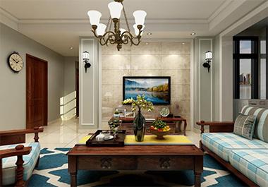湘潭中央一品106㎡三室两厅美式风格装修效果图