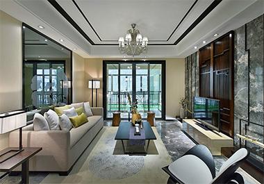 湘潭湘江学府142㎡四室两厅新中式风格装修效果图