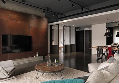 湘潭上层国际125㎡三房两厅现代风格装修效果图