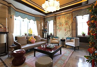 湘潭凤凰城107㎡三室两厅新中式风格装修效果图