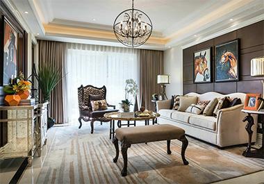 湘潭旺城天誉126㎡三室两厅欧式风格装修效果图