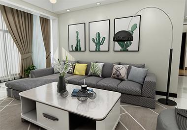 湘潭和园小区106㎡三室两厅现代风格装修效果图