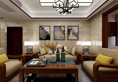 湘潭中央一品115㎡三室两厅中式风格装修效果图